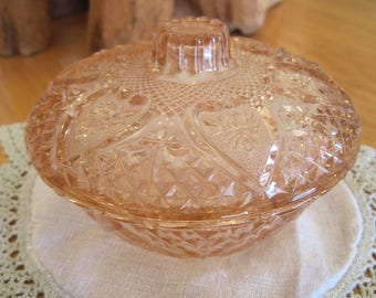 KIG Malaysia Pink Depression Glass Candy Dish - Item #1597