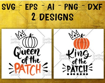 Queen of the Patch SVG King of the Patch Hand drawn svg pumpkin clipart cut files Cricut Silhouette  Instant Download vector SVG png eps dxf