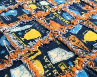 ON SALE Navy Football Patterned Baby Blanket