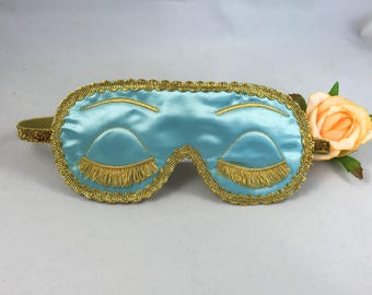 Holly Golightly - Breakfast at Tiffany's inspired satin sleep mask blind fold with embroidered eyelashes - Audrey Hepburn