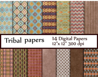 "40%SALE Tribal Digital Paper: ""TRIBAL PAPER"" Tribal Patterns aztec pattern tribal designs  patterned papers tribal backgrounds tribal chevro"