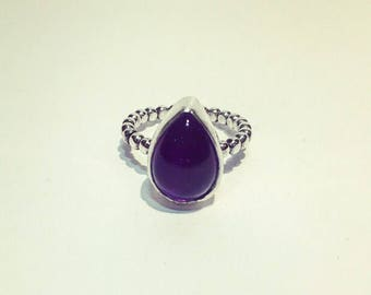 Amethyst pear sterling silver ring, size 6.5