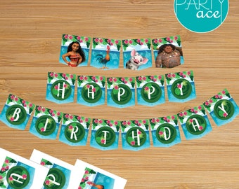"Moana Birthday Banner ""Returns the heart of Te Fiti"" Happy Birthday Printable Banner Moana Maui Pua Hei Hei"