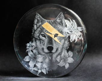 Bowie Wolf glass engraving with gold leaf detail