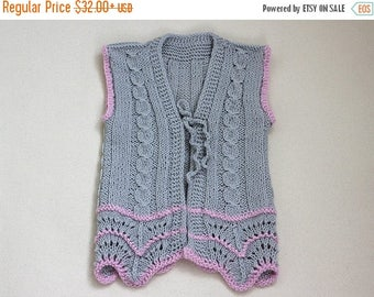 SALE Gray Vest Hand Knit, Baby girl vest hand knit, baby vest, clothes for baby girl, Wool Vest for Baby 6-24 month 2-4 years baby, gift for