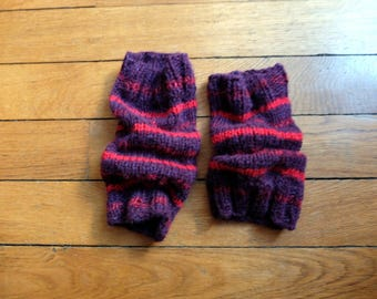 Hand knit alpaca and silk, purple, and red stripes leggings