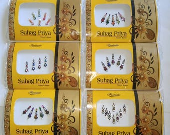 6 Premium Bindi packs - Long designer bindis, bollywood bindis, Fancy bindis, Temporary tattoos, Bindi Jewelry forehead Bindi packs