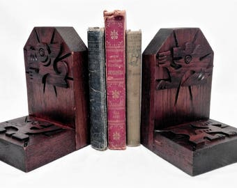 Masculine Bookends Dark Brown Stain Solid Hardwood Light Satin Finish ~ 4 Carved Hieroglyphic Animal Accents ~ Made In Ecuador Home Business