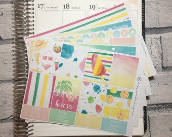 Just Beachy - DELUXE Weekly Sticker Kit, Planner Stickers, No White Space Planner Sticker Kit, for use with EC LIFEPLANNER™ - Reformat