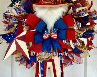 Patriotic Wreath, Uncle Sam Wreath, Americana Wreath, 4th of July Wreath, Red White and Blue Wreath