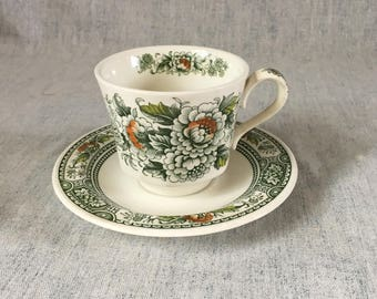 Vintage Ridgway Canterbury Green Cup and Saucer