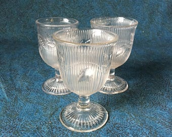 Antique Flint Glass Water Cordials, EAPG Boston Sandwich Ribbed Ivy, Set of 3
