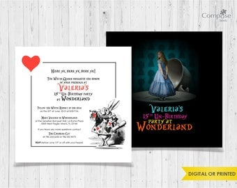 Wonderland - Invite your guests with personalized party invitations - Digital or Printed - Birthday Invitation - Girl Birthday Party