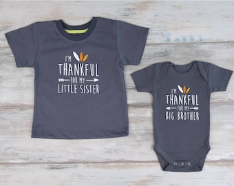 Big Brother Little Sister Thanksgiving Shirts, I'm Thankful For My Little Sister / I'm Thankful For My Big Brother Matching Fall Shirts