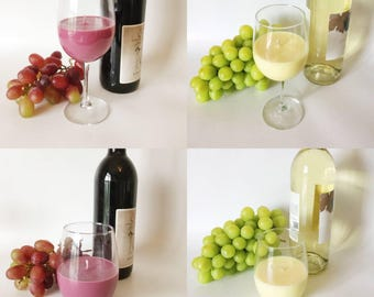 Wine lovers pack- Chardonnay, Cabernet, Sauvignon Blanc & Vineyard/ natural Soy Wax/ refillable/ zero waste/ stemless or stemmed wine glass