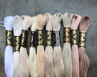 DMC Pearl Cotton Floss #25, Neutral Color Pack, Needlepoint Threads, Crewel, Embroidery, Perle Cotton, Sale .40 each