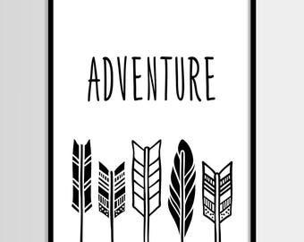 Arrows, Adventure, Scandinavian, Kids print, Nursery, Kids room, Printable Wall Art, Childrens print, Digital print, Instant Download 8x10