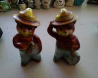 Vintage Smokey the Bear Salt and Pepper Shakers