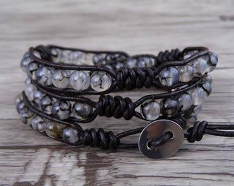 3 Wrap bracelet Black and white Dragon grain stone Bracelet 3 Row Bracelet Leather Bracelet Multi Colors Yoga Wrap Bracelet Jewelry SL-0526