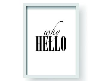 Well Hello | Artwork | Wall Art | Graphic Design | Typography | Illustration | Interior