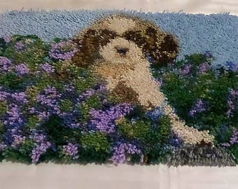Dog in the Garden Completed Latch Hook Rug