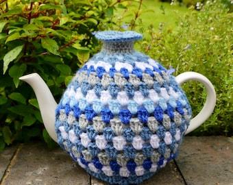 Blue Retro Crochet Tea Cosy, Teapot Cozy