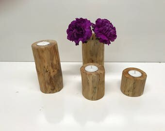 Real Birch Log Candle Holders And Log Vase, Wedding Center Piece, Mantel Center Piece, Rustic Candle Holder, Log Candle Holder, Log Vase,
