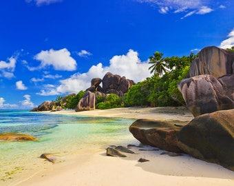 Sea Beach Backdrop - seaside, summer, stone, rock, wedding, sunny sky - Printed Fabric Photography Background W1268