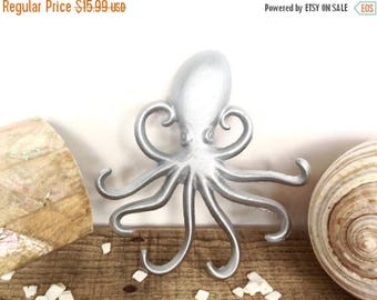 ON SALE Silver Octopus Hook - Jewelry Hanger - Silver Wall Art - Necklace Holder - Bathroom Wall Art - Silver Decor - Octopus Wall Art - Key