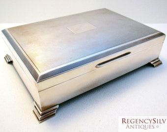 Large (1962) Solid Sterling Silver English Birmingham Hallmark Cigarette/Cigar/Vesta/Card/Trinket Case Box Humidor. Vintage/Antique/Art Deco