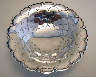 30s Solid Sterling Silver Fish Scale pattern, Art Deco Pedestal Bon Bon Dish/Bowl. Early 20th-century