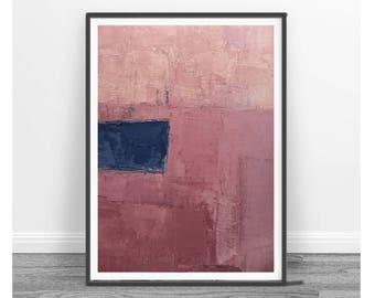wall art abstract, Abstract Art Print ,coral, blue , navy blue ,  Digital Download Abstract Print, Large Abstract , landscape, pink, indigo