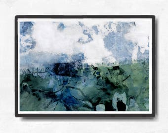 Printable Art,  Art Poster, Digital Download, Wall Decor, green and white, modern abstract, scandinavian design, teal blue white, landscape
