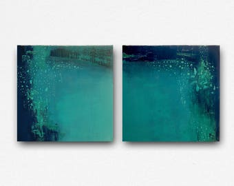 Set of 2, minimalism abstract, contemporary art, landscape abstract, diptych landscape, teal and navy blue, original oil on canvas, Turqoise