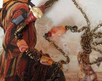 Ethnic style, agate, Carnelian and Pearl Necklace textile silk creation Leamorphoses