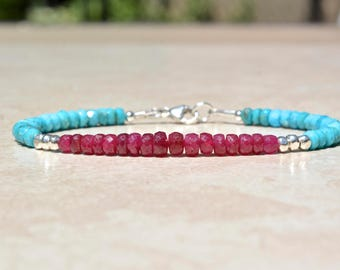 Ruby Bracelet, Sleeping Beauty Turquoise Bracelet, Birthstone Bracelets, December July Birthstone, Beaded Gemstone Bracelet, Gift For Her