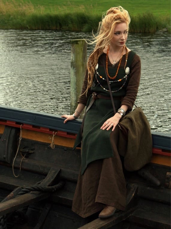 Viking Hangerock Apron Dress, Wool, Linen, Garb, Serk, Norse, SCA, HEMA, LARP knotwork trim Celtic Slavic Renaissance, Reenactment