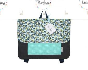 Cartable Maternelle Garçon Personnalisable / Fermeture par Pression - Tissu Jean et Coton à Motif * Bulles *