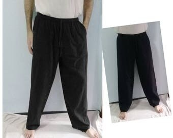 Long Pants Trousers Beach Summer Lightweight Casual Linen Look  Cotton Black