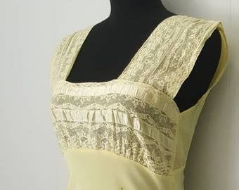 40s Lady Edso Butter Yellow Silk and Lace Nightgown | Labeled Size 34 Bust