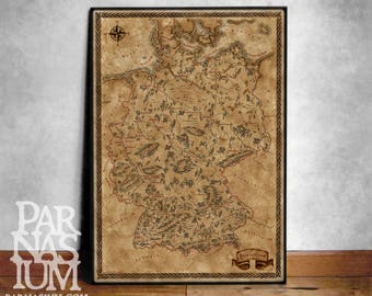 Fantasy style illustrated map of Germany art, Germany map poster, map print Germany wall map, Germany gift, Fantasy Germany Poster