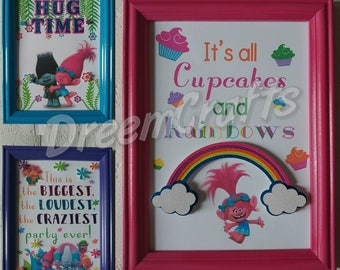 Trolls table sign. Trolls dessert sign. Trolls birthday. Trolls party. Trolls sign. Poppy sign. Trolls banner. Trolls centerpiece.