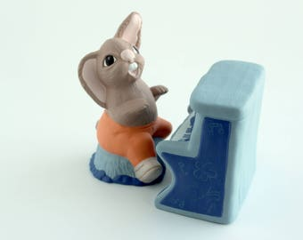 Ceramic Easter Bunny Playing Piano