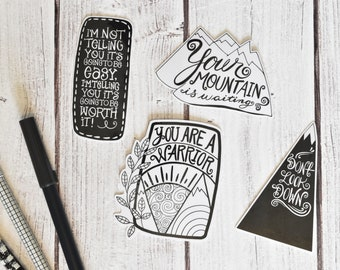Motivational Laminated Die Cuts | Planner Die Cuts, Traveler's Notebook Die Cut, Planner Accessories