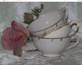 SALE Mismatched Teacups, 2 Teacups, White with Gold Trimmed Teacups, Haviland, Wedding Teacups, Bridal Showers, Tea Parties, Shabby Chic Tea