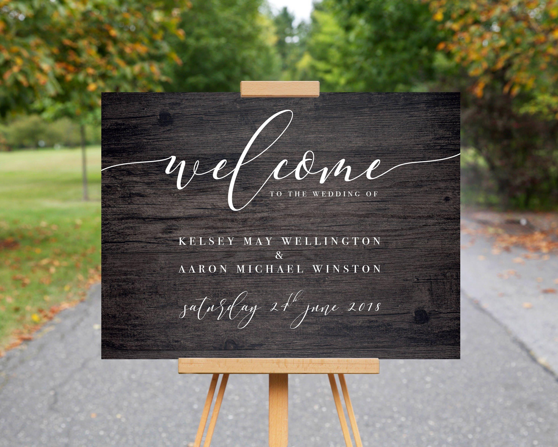 Wedding Welcome Sign Wood Effect Wedding Sign Personalised