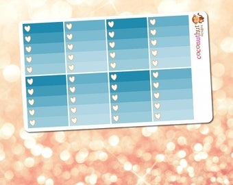 November / Blue Ombre Heart Checklist Planner Stickers (Erin Condren Life Planner Monthly Colors)