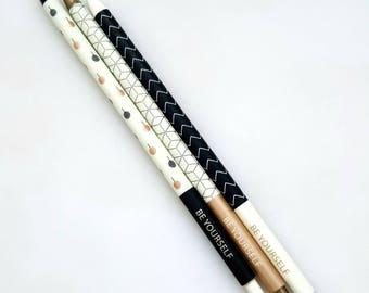Bronze, Black and White pens, geometric patterned, monochrome pens, slim line, blue ballpoint style