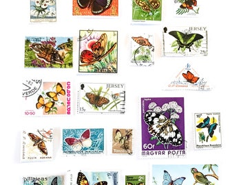 20 x Butterfly postage stamps - from 17 countries, used, off paper, all different - Butterflies - for collage, stamp collecting, mail art