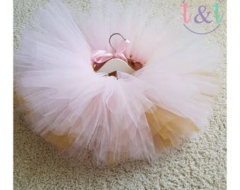 Pink Tutu-cake smash outfit-Birthday Outfit-1st Birthday- sparkly tutu- girls- gift-clothing -extra fluffy tutu-pink and gold tutu-birthday